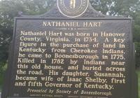 <h2>Marker 1577 (Back)</h2><p>Nathaniel Hart<br>Marker 1577 (Back)<br>County: Madison<br>Location: Location: Approximate 1 Mile South of Main Entrance to <br>Fort Boonesborough State Park, KY 388<br>Photographed by Sharla Gross<br></p>