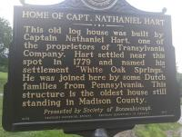 <h2>Marker 1577 (Front)</h2><p>Home of Captain Nathaniel Hart<br>Marker 1577 (Front)<br>County: Madison<br>Location: Approximate 1 Mile South of Main Entrance to Fort Boonesborough State Park, KY 388<br>Photographed by Sharla Gross<br></p>