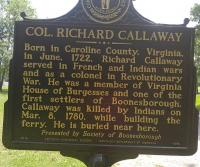 <h2>Marker 1578 (Back)</h2><p>Colonel Richard Callaway<br>Marker 1578 (Back)<br>County: Madison<br>Location: Approximate 500 feet North of Main Entrance to <br>Fort Boonesborough State Park, KY 388<br>Photographed by Sharla Gross<br></p>