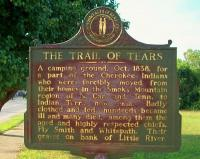 <h2>Marker 1042</h2><p>The Trail of TearsMarker 1042County: ChristianLocation: East 9th Street at Little River, Hopkinsville, US 41Description: A camping ground, October 1838, for a part of the Cherokee Indians who were forciblymoved from their homes in the Smoky Mountainregion of North Carolina and Tennessee to Indian Territory, now Oklahoma. Badly clothed and fed, hundreds became illand many died, among them the aged and highlyrespected chiefs, Fly Smith and Whitepath. Their graves on bank of Little River.Photographed by Awahili<br></p>