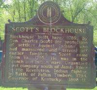 <h2>Marker 1094 </h2><p>Scott's BlockhouseMarker 1094County: CarrollLocation: Carrollton, Point Park, US 42Description: Blockhouse built here, 1789, byGeneral Charles Scott for protection of settlersagainst Indians who had massacred and driven offearlier families. Scott came from Virginia, 1785.He was in the French and Indian Wars. Organizedfirst company south of James River in theRevolution. Indian fighter, in Battle of FallenTimbers, 1794. Governor of Kentucky, 1808-12.Photographed by John War Pony Nalley<br></p>
