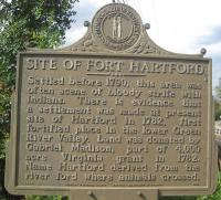 <h2>Marker 1195</h2><p>Site of Fort HartfordMarker 1195County: OhioLocation: North of Hartford at Rough River Bridge, US 231Description: Settled before 1790, this area wasoften scene of bloody strife with Indians. There isevidence that a settlement was made at present siteof Hartford in 1782, first fortified place in thelower Green River Valley. Land was donated byGabriel Madison, part of 4,000-acre Virginia grantin 1782. Name Hartford derived from the riverford where animals crossed.Photographed by John War Pony Nalley<br></p>