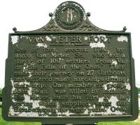 """<h2>Marker 1494, Side One</h2><p>Van Meter FortMarker 1494County: HardinLocation: 1/2 mile West of Elizabethtown, US 62Side One:Description: Site of fort, erected 1780, by Jacob Van Meter, Sr.,who led a party of 100 settlers from Virginia. to """"the Falls of the Ohio."""" They made their journey on 27 flatboats and suffered manyhardships during their trip. One member of group,John Swan, was killed by Indians. Van Meterbuilt his fort by the spring which supplied waterfor Elizabethtown for many years. Over.Photographed by John War Pony Nalley<br></p>"""