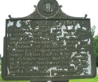 <h2>Marker 1494, Side Two </h2><p>Side Two:Van Meter FortMarker 1494County: HardinLocation: 1/2 mile West of Elizabethtown, US 62(Reverse) Van Meter Fort - Van Meterbrought seed wheat from Virginia; built a grist mill. The fort, October, 1790, wasscene of an Indian skirmish. Van Meter wasa founder of Elizabethtown and Hardin County. Helped organize Severn's Valley Baptist Church, 1781; served in Revolutionary War as Captain, in Clark's Northwest expedition. Buried at fort;remains later moved to Elizabethtown Cemetery.Photographed by John War Pony Nalley<br></p>