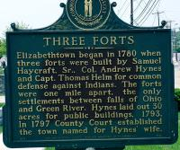 <h2>Marker 1651</h2><p>Three FortsMarker 1651County: HardinLocation: Adjacent to Elizabethtown City Cemetery, Elizabethtown, US 31-WDescription: Elizabethtown began in 1780 whenthree forts were built by Samuel Haycraft, Sr., ColonelAndrew Hynes and Captain Thomas Helm forcommon defense against Indians. The forts wereone mile apart, the only settlements between fallsof Ohio and Green River. Hynes laid out 30 acresfor public buildings, 1793. In 1797 County Courtestablished the town named for Hynes' wife.Photographed by John War Pony Nalley<br></p>
