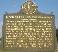 <h2>Marker 1792 </h2><p>Jacob Skiles and Three SpringsMarker 1792County: WarrenLocation: 2055 Three Springs Road, Bowling GreenDescription: Pioneer merchant Skiles started to Kentuckyin 1790 by Ohio River flatboat, surviving Indiancapture en route. He settled in Bowling Green, 1803,and later moved to Three Springs on the Cumberland Trace. Here he established a thriving mercantile business. Skiles died, 1816. Three Springs declined as an area trade center in 1820s when travel was diverted through Bowling Green.<br></p>
