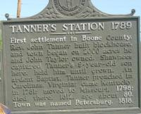 <h2>Marker 999</h2><p>Tanner's Station 1789Marker 999County: BooneLocation: Petersburg, Elementary Schoolyard, KY 20Description: First settlement in Boone County.The Rev. John Tanner built blockhouse, and townbegan on 2,000 acres he and John Taylor owned.Shawnees captured Tanner's 9-year-old son here,held him until grown. An ardent Baptist, Tannerpreached in Carolinas, Virginia; came to Kentuckyin 1781; moved to Missouri, 1798; died there,1812, age about 80. Town was named Petersburg, 1818.Photographed by John War Pony Nalley<br></p>