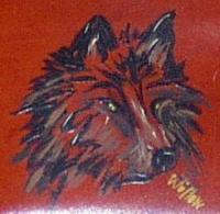 <h2>Hand Painted Wolf Wallet