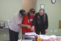 <h2>February Birthday Trio Cutting The Cake 1 </h2><p>Feb. 8, 2009Photography by WahiyaLeft: Nighthawk TroutmanCenter: Elaine JohnsonRight: Frank Cook<br></p>